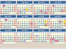 CALENDAR 2018 School terms and holidays South Africa