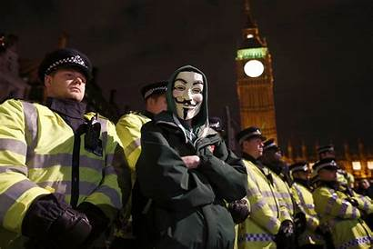 Mask March Million London Anonymous Police Riot