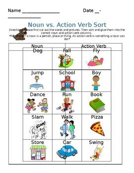 But this list doesn't include all. Noun and Action Verb Sort by Miss Burd's Bunch   TpT