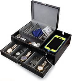 houndsbay big dresser valet box mens jewelry box organizer with large smartphone charging