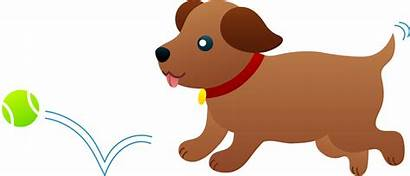 Puppy Ball Chasing Clip Playing Fetch Sweetclipart