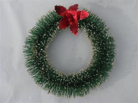 red holly bottle brush christmas wreath ornament