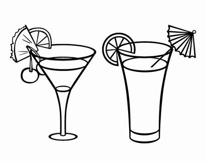 Coloring Cocktails Cocktail Drinks Pages Drawing Soft