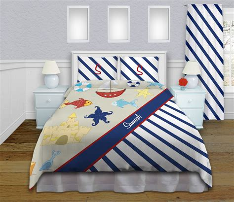 Blue And White Kids Nautical Striped Bedding, Boys Boat