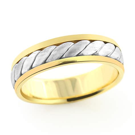 14k solid gold woven wedding band for