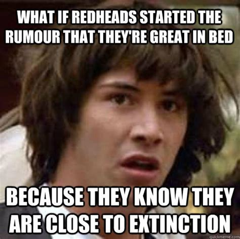 Redhead Meme - what if redheads started the rumour that they re great in bed because they know they are close