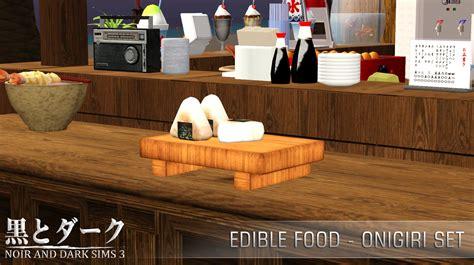 cuisine sims 3 ts3 edible food onigiri set noir and sims