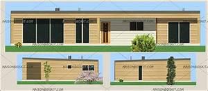 maison bois moderne 3 chambres toit plat With plan maison en pente 16 construction hangar bois de france