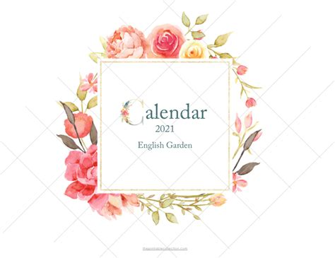 printable monthly calendar  watercolor flowers