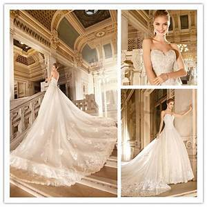 hot sale luxury royal wedding dress a line floor length With wedding dress train lengths
