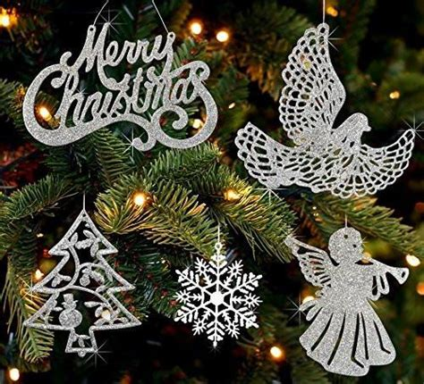 assorted silver christmas ornaments merry christmas