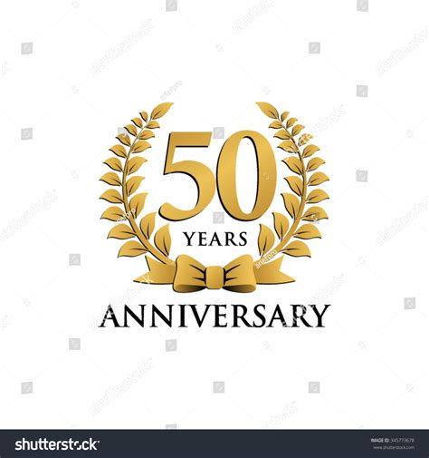 50 year anniversary 50 years anniversary wreath ribbon logo stock vector 345773678 shutterstock