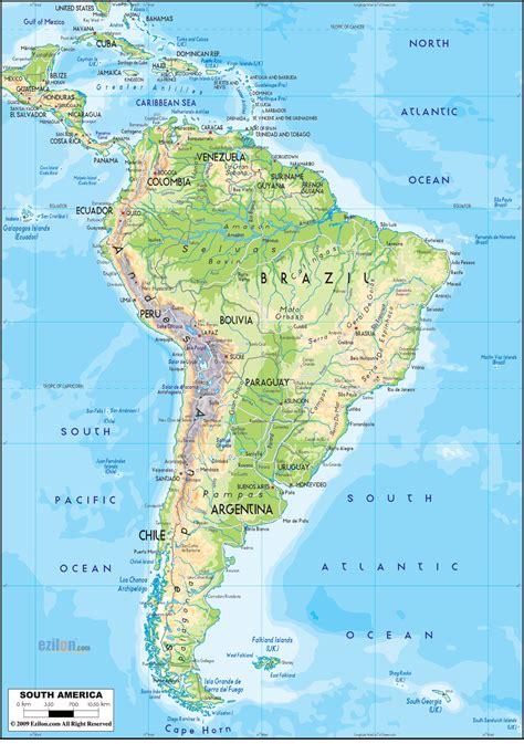 physical map  south america ezilon maps