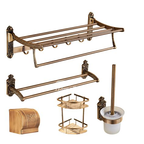 vintage 5 antique brass bathroom hardware sets