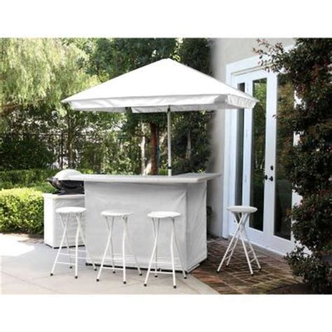 best of times solid white all weather patio bar set with 6