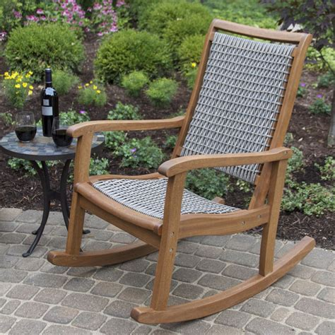 outdoor interiors 21095rcg resin wicker and eucalyptus rocking chair atg stores