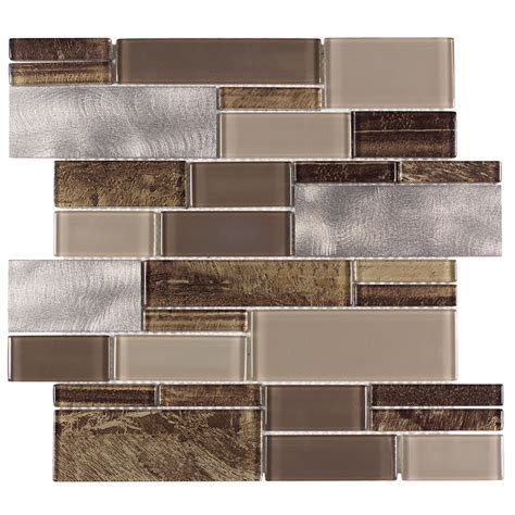Thinset For Glass Tile by Shop Allen Roth Laser Contempo Beige Mixed Material
