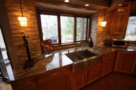 Stacked Stone Backsplash  Traditional  Kitchen