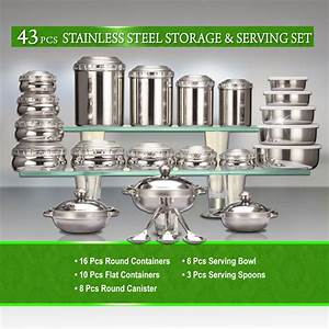 Buy 43 Pcs Stainless Steel Storage & Serving Set Online at