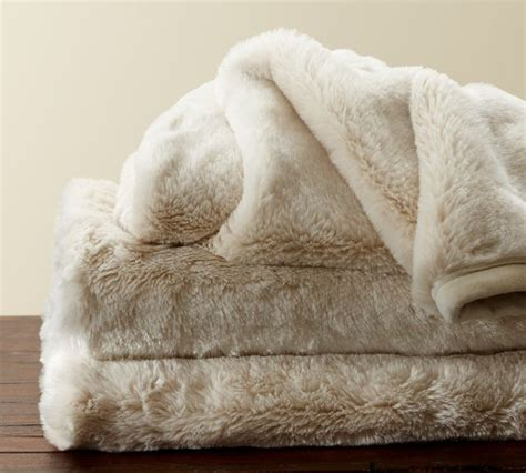 pottery barn fur blanket faux fur throw ivory contemporary throws by pottery