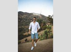 Men's White Long Sleeve Shirt, Light Blue Denim Shorts