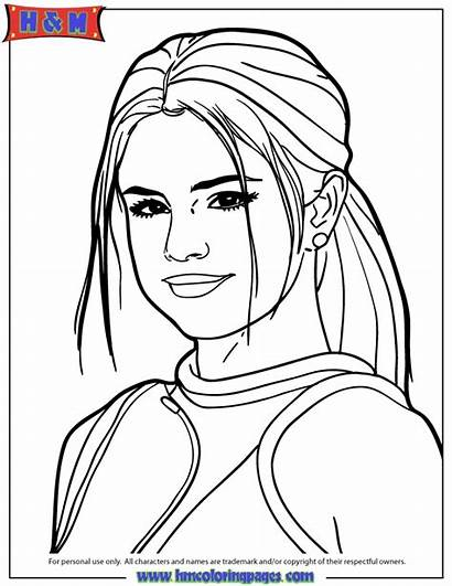 Coloring Pages Selena Gomez Famous Outline Drawing