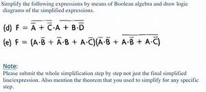Solved  Simplify The Following Expressions By Means Of Boo