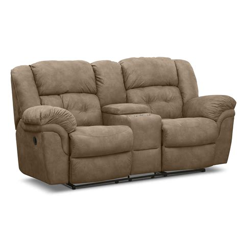 microfiber and loveseat brown microfiber reclining loveseat with console and