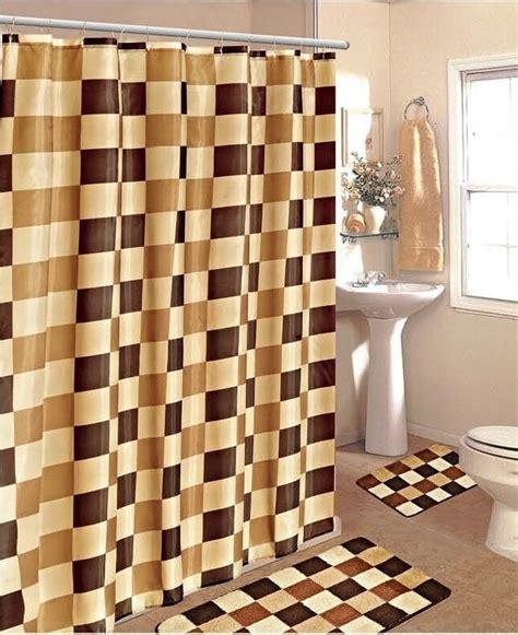 pc checkers brown gold bathroom set bath mats shower