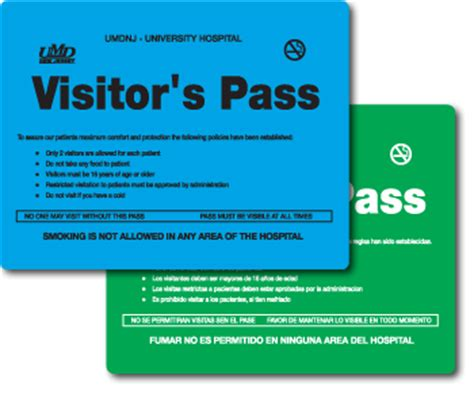 Visitor Pass Template by Plastic Healthcare Products Ilc