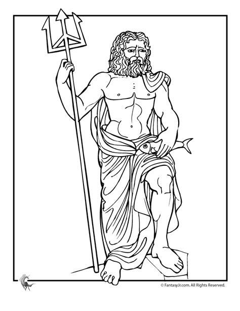 greek myths coloring page poseidon ancient greek art