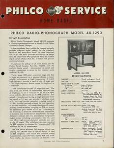Factory Philco 48 Fm  Sw Shortwave Radio  Phono