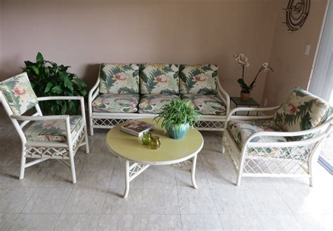 vintage rattan bamboo furniture set 4 palm style