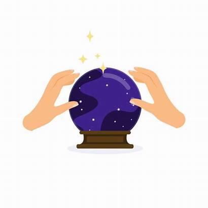Crystal Ball Magic Hands Flat Concept Illustrations