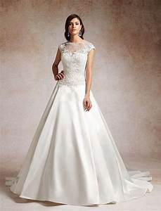 illusion neckline satin and lace wedding dress with a line With lace illusion neckline wedding dress