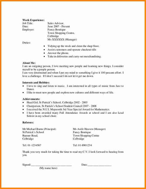 How To Do A Cv Template by 10 Exle Of A Student Curriculum Vitae Penn Working