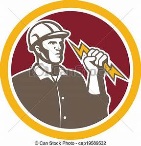 Electrician wielding lightning bolt circle retro ...