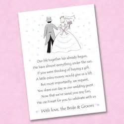 how to ask for money as a wedding gift 25 x wedding poem cards for your invitations ask politely for money gift ebay