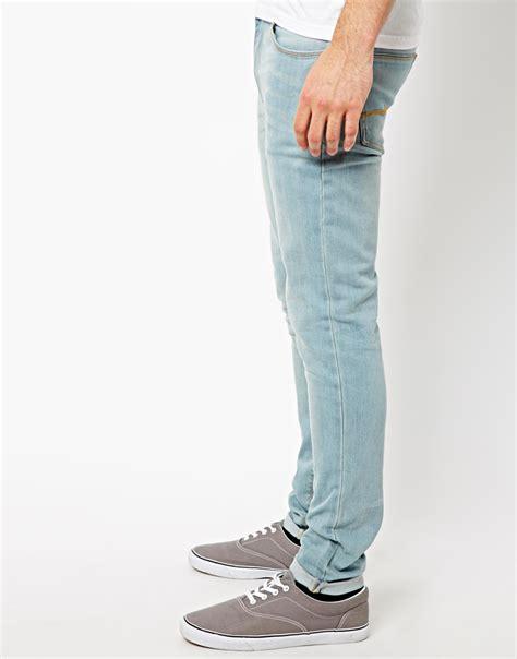 light jeans mens asos super skinny jeans in light wash in blue for men lyst
