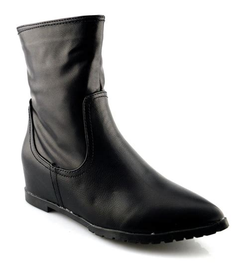 Ladies Womens New Fashion Zip Pointed Wedge Grip Sole Ankle Boots Shoes Size 3-8   eBay