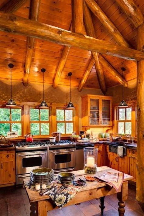 enchanting log cabin kitchen lighting ideas with stainless