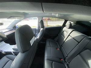 Interior spy photo showing rear seat, center console, glass roof – Tesla Model Y Wiki