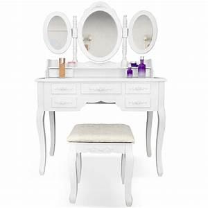 Coiffeuse 3 Miroirs : cabinet de toilette coiffeuse d 39 poque avec miroir de couleur blanche et taboure ebay ~ Teatrodelosmanantiales.com Idées de Décoration