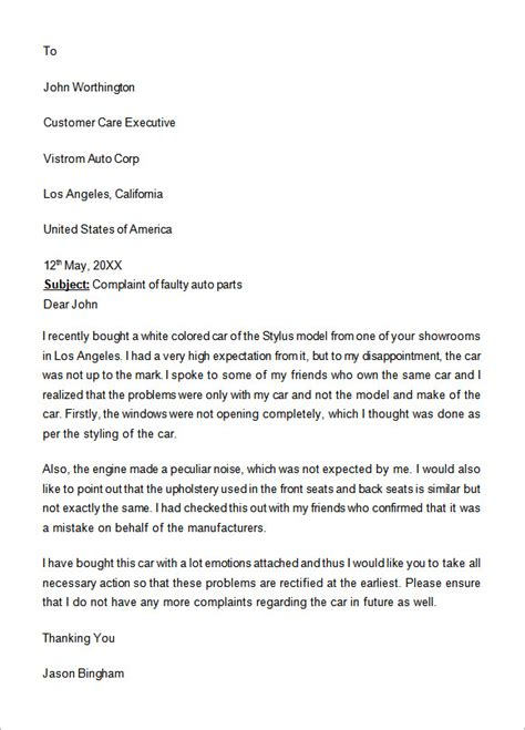 formal letter of complaint to employer template 17 sle complaint letters to sle templates