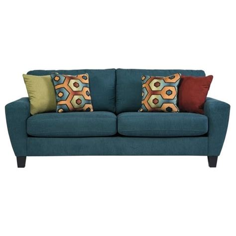 queen size sleeper sofa ashley sagen fabric queen size sleeper sofa in teal 9390239