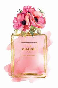 chanel no5 printed fashion poster watercolor red poppies With affiche chambre bébé avec parfum fleur d amandier