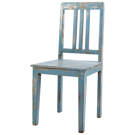 distressed mango wood chair in grey blue avignon maisons