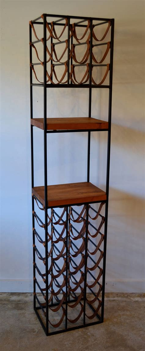 Pair Of Wrought Iron And Butcher Block Wine Racks By