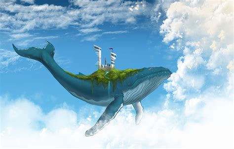 digital art fantasy art animals whale floating clouds