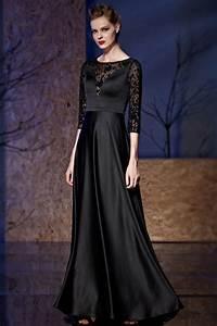 robe de soiree noire en satin a haut transparent avec With robe de soirée mi longue avec manche